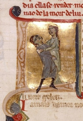 early romance in action: Jaufré Rudel dies in the arms of the Countess of Tripoli; 12th c. Occitan material, 13th c. Italian ms, in a French library