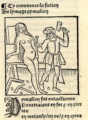 Pygmalion and Galatea; woodcut, Guillaume de Lorris & Jean de Meun, Le Roman de la Rose (c. 1505)