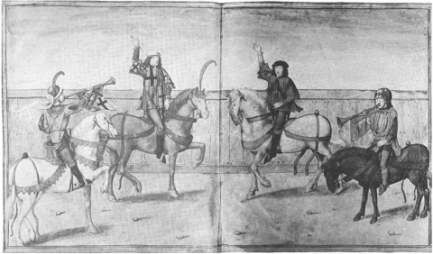 heralds on horseback flanked by their trumpeters (probably English, early 16th c.)